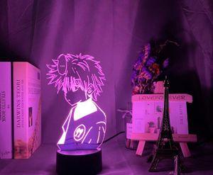 Anime Hunter X Hunter Led Night Light Killua Zoldyck Figura Nightlight Mudando a cor do Usb Tabela Battery presente 3d da lâmpada for Kids