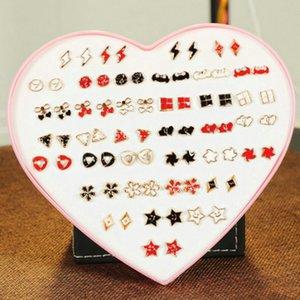 Kuhong 36 Pairs Set Mixed Stud Earrings For Women Alloy Ear Studs Fashion Heart Flower Bow Cat Cute Earrings Jewelry Kuhong 36 whole2019 KLg