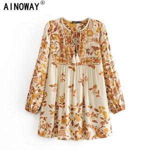 Vintage chic women bohemian floral printed Tassel v-neck long sleeve lace-up rayon Boho blouse shirts blusas