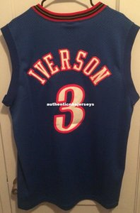 Cheap wholesale Allen Iverson Jersey Men nk Sewn #3 T-shirt vest Stitched Basketball jerseys Ncaa