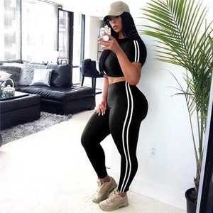 Chándales de cintura alta aptitud de la mujer casaul Trajes de las mujeres 2pcs de rayas de los deportes de verano O- diseñador de la mujer del cuello camisetas Con