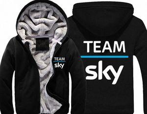 Team Sky Pro Cycle Толстые ватки Mens Outwear Большой Yards Хлопок Hoodie куртки пальто ветровки Теплый 0JFl #