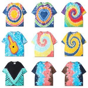 Tshirt Повседневный O шеи с коротким рукавом Свободные тройники Mens Streetwear Tops Hip Hop Mens Tie DYED