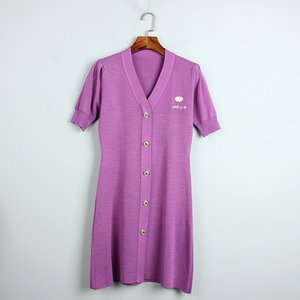 Daisy embroidery ice silk knitted Summer 2020 new commuter Embroidered Dress V-neck bubble short sleeve purple dress