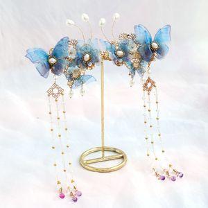 FORSEVEN clips delicado Rosa Azul Simulado perlas borla larga horquillas chino antiguo joyería del pelo del banquete de boda de novia
