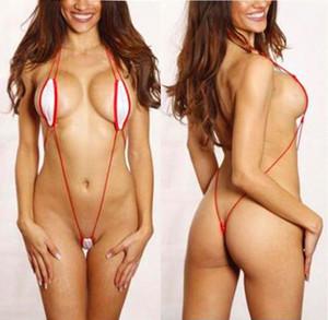 Sexy White Red Corded SlingShot Monokini Micro Thong Bikini Thong G-String Red Cord String Beach Sunkini Biquinis NIMY#
