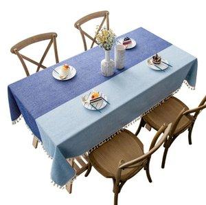 Lavabile Cotone Lino Cuciture a righe nappa rettangolare Tovaglia Table Cover Grande per pranzo cucina tavolo buffet Decoration AHF246
