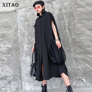 Xitao Retro Hong Kong Design-Kleid-Schwarz-aushöhlen Patchwork Rivet große Tasche Mode-Frauen-Kleidung 2020 Frühling Kleid GCC3395