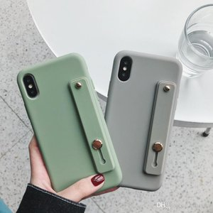Good Simple Matte Candy Wrist Strap Hand Band silicone case for iPhone 11 pro 6 6s 7 8 Plus X Xr Xs Max Back Phone Stand Ring Protect Cover