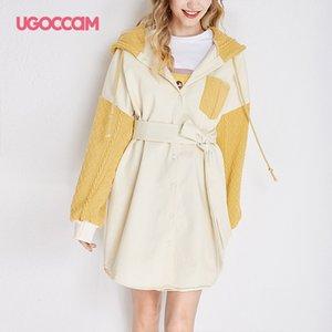 UGOCCAM Kapşonlu Coat Sarı Kadınlar Coat Hendek Oversize Splice Örme Kış Windproof ile Kemer Moda Dış Giyim Açık