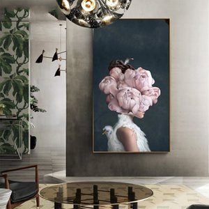 Larger Size Fashion Posters Prints Nordic Flowers Butterfly Woman Canvas Painting Wall Art Pictures for Living Room Modern Home Decoration