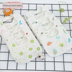 Pure cotton gauze Baby U-shaped six-layer bib gauze water absorbing breathable cartoon bib printed rice pocket