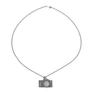 Antique Bronze Camera Design Pendant Pocket Women Quartz Watch Necklace