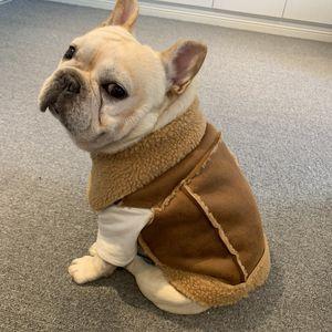 프랑스 불독 의류 겨울 프렌치 개 코트 자켓 퍼그 의류 슈나우저 강아지 옷 스웨이드 캐시미어 애완 동물 조끼 의상 의류 T200710