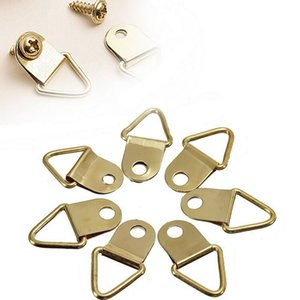 Golden Brass D-Ring Picture oil Painting Mirror Frame Wall Mount Hooks Hangers With Screws 20 Pcs lot