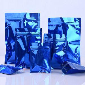 100Pcs Glossy Blue Heat Seal Aluminum Foil Zip Lock Packaging Bag Mylar Foil Scented Tea Beans Zipper Packing Bag for Storage