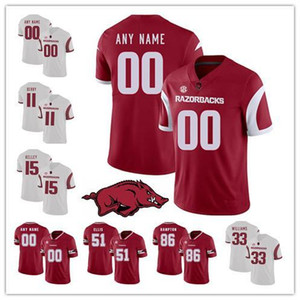 Personnalisé 2019 Arkansas Numéro Numéro Rouge Blanc 4 Ty Storey 5 Rakeem Boyd 15 Cole Kelley 16 La Michael Petway NCAA Football College Jersey