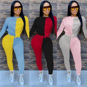 2ps Womens Set Designer Panelled Tracksuits Crew Neck Fashion Clothing Slim Stripe Print Long Short Trousers