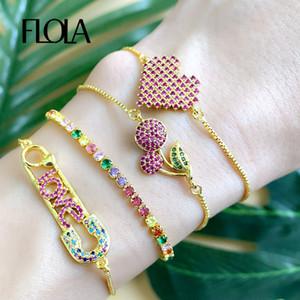 FLOLA Rainbow Heart Tennis Bracelet Woman Zirconia Safety Pin Cherry Charm Bracelet 24k gold Jewelry regenboog armband brtb67