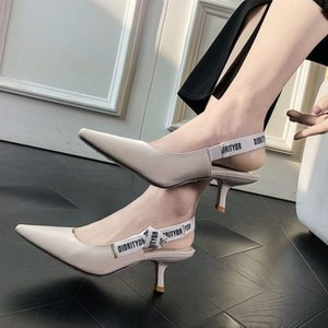 Original design Dìór low heel stiletto sandals pointed pointed pointed buckle luxury fashion women's shoes free shipping
