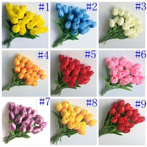 PU Fleurs en soie artificielle Tulipes Real Touch Fleurs Mini Tulipe mariage décoration Bouquet Décorations de mariage artificielle Décor DHB488