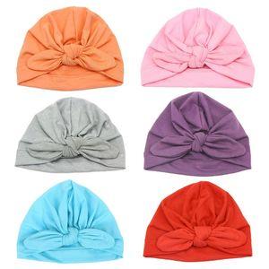 Newborn Infant Baby Ear Bow Knot Turban Beanie Hat Lovely Cotton Headband F3ME
