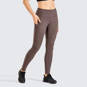Matte spazzolato Light-pile delle ghette dei pantaloni di allenamento di yoga delle donne con Pocket Squat prova di 28 pollici