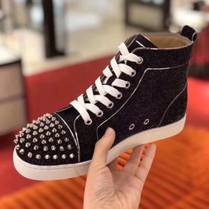 Günstige Top Turnschuhe !! High Top Black Glitter Herren Designer-rote untere Schuhe Top-Qualität Men Casual Fla Außen Unisex Driving Schuhe