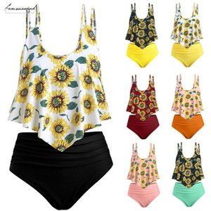 Women Bathing Suits Top Ruffled With High Waisted Bottom Bikini Set Sunflower Printed Swimming Costumi Da Bagno Donna Sx