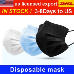 DHL UPS 3-8 Days To US EU 50pcs with Box Disposable Face Masks with Elastic Ear Loop 3 Ply Breathable Dust Air Anti-Pollution Face Mask