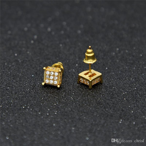 3D Square Earring Hip Hop Real 925 sterling silver jewelry Screw Back pave CZ for men&women