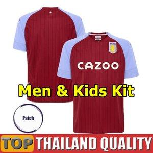 20 21 Aston Villa Futebol 2020 2021 WESLEY Grealish Kodja EL Ghazi Football Shirt set CHESTER McGinn Homens Crianças Kit uniforme