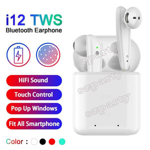 I12 توس بلوتوث 5.0 سماعات بلوتوث اللاسلكية دعم النافذة المنبثقة سماعات ملونة تعمل باللمس التحكم اللاسلكي سماعة أذن i7i7Si9s