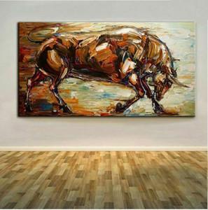 Grande dipinta a mano Animal pittura ad olio su tela Bull Home Decor Art Deco della parete della pittura su tela Immagini 200727