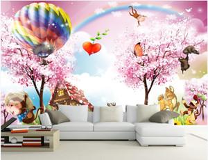 خلفيات الصور المخصصة للجدران 3D الجدارية الخيال غابة شجرة بالون جميلة الكرتون الحيوان غرفة الأطفال أطفال غرفة جدارية ورق الجدران