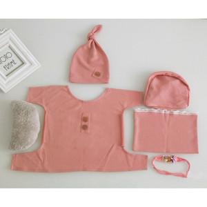 1set bébé Wrap Top Knot Hat Bandeau oreiller nouveau-né bébé Props photo Tenues GXMB