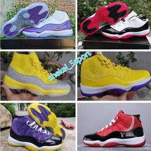 AIR 11 RIP Mamba 11 White Bred Metallic Silver Lakers Men Basketball Sneakers Shoes aj 11 Designer Trainer Zapato