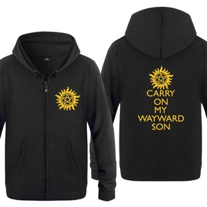 2020 Carry on My Wayward Son Musica hoodies degli uomini 2018 uomini del vello Zipper Cardigan Felpe con cappuccio