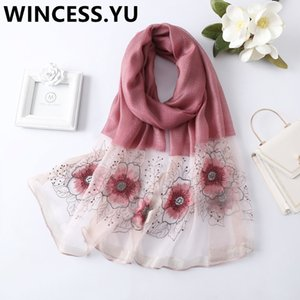 2019 spring autumn ladies silk scarf embroider scarves shawl and wraps long flower scarf for women pashmina scarves T200729