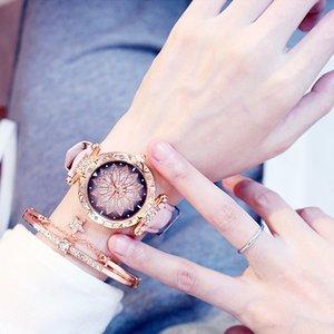 Women Watches Set Starry Sky Ladies Bracelet Watch Casual Leather Sports Quartz Wristwatch Clock