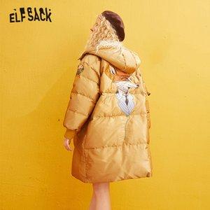ELFSACK Yellow Solid Satinapplique Gerade Warmness Mäntel Frauen 2020 Winter-Reißverschluss, Stickerei Korean Weiblichen Grund Outwears