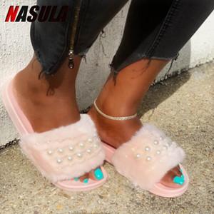 INS меховых Flats тапочек обувь женщины пушистой женские slipers пушистые дамы нечеткие дамами плюшевый Schoenen Fenty красота женщины