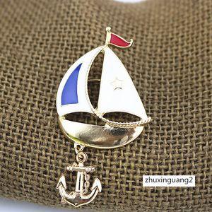 Vintage blaue Emaille-Schiffs-Hemd-Kragen-Clip Segeln Badge Hijab Dekoration Figur Boot Segel Form Broschen Pins mit Haken