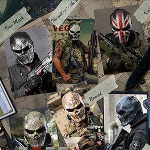 Mascarilla facial protectora cráneo hombres y mujeres del Ejército Montar los aficionados del Real Campo CS Equipo de Halloween de Navidad Máscara del horror