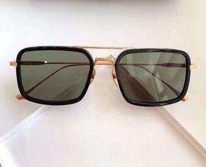 134 Rect Sunglasses Gold Black Frame Green Lens gafas de sol men Fashion sugnlasses Sun glasses Shades with case