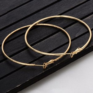 Alloy Engraved Hoop Earrings Women Fashion Jewelry Gold Geometric Gold Big Circle Round Elegant Evening Party Earring Ladies
