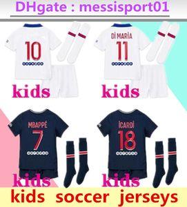 Çocuklar 20 21 paris MBAPPE futbol formaları 3 4HT kitleri 2020 2021 Paris Maillot Icardi erkek Tam set üniforma futbol forması