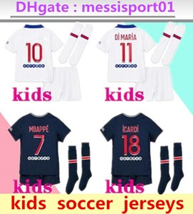 crianças kit de futebol jersey maillot psg crianças 2020 2021 kits de futebol 20/21 MBAPPE camisa de futebol