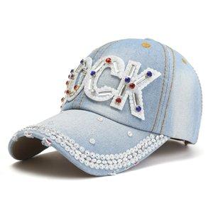 9 أنماط الأحدث 2020 الدينيم الماس قبعات البيسبول قابل للتعديل سنببك المرأة الرياضة في الهواء الطلق كاب مع الكريستال حجر الراين