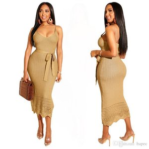 Pencil Dress Women V Neck Bodycon Dresses Casual Ladies Backless Dresses with Saches Autumn Sexy Female